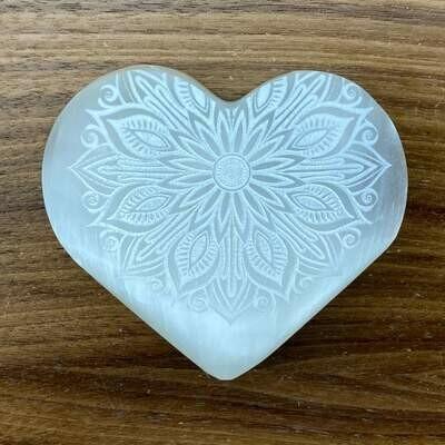Selenite Heart w/Mandala etching