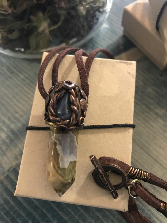 Quartz Point & Agate Necklace - 04
