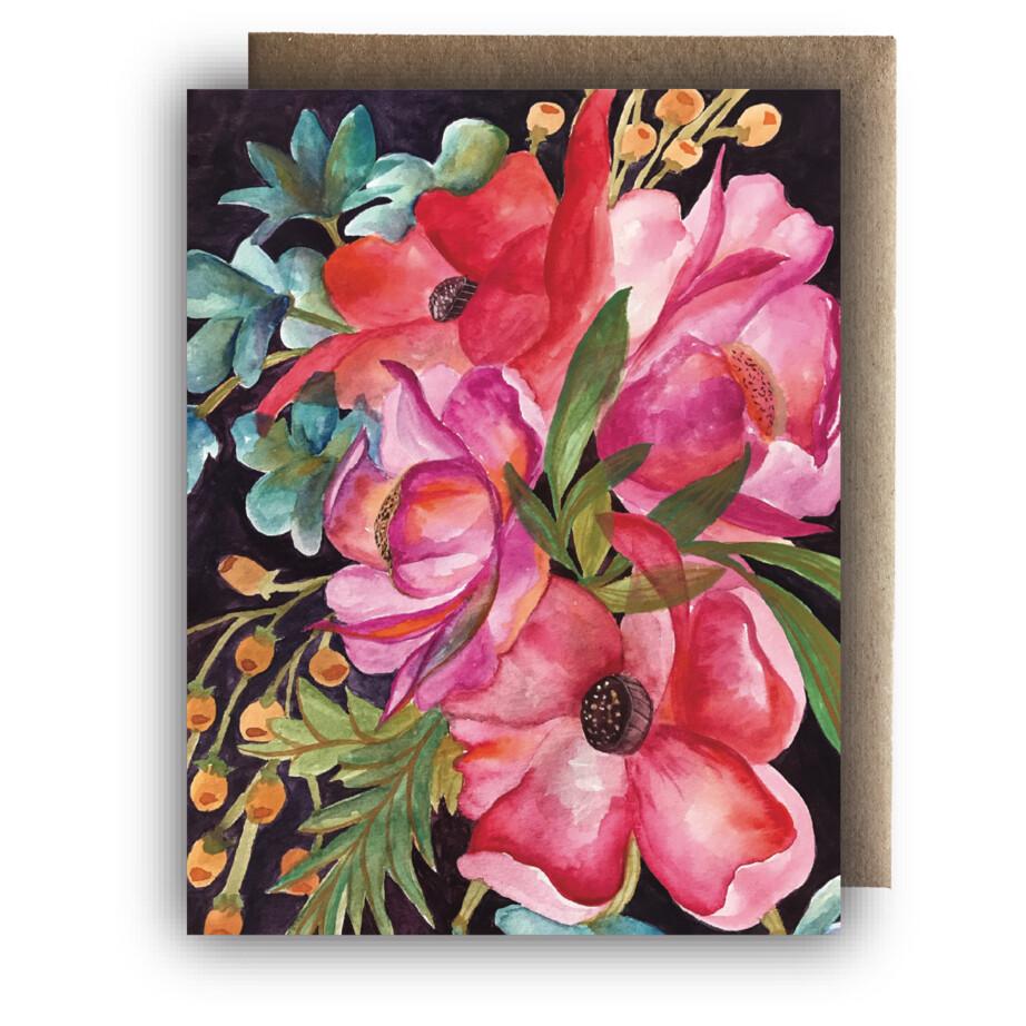 Maija Rebecca Hand Drawn Card - Bright Watercolor Floral