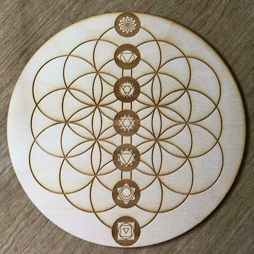 """Flower of Life Chakra Intention Board 4"""""""