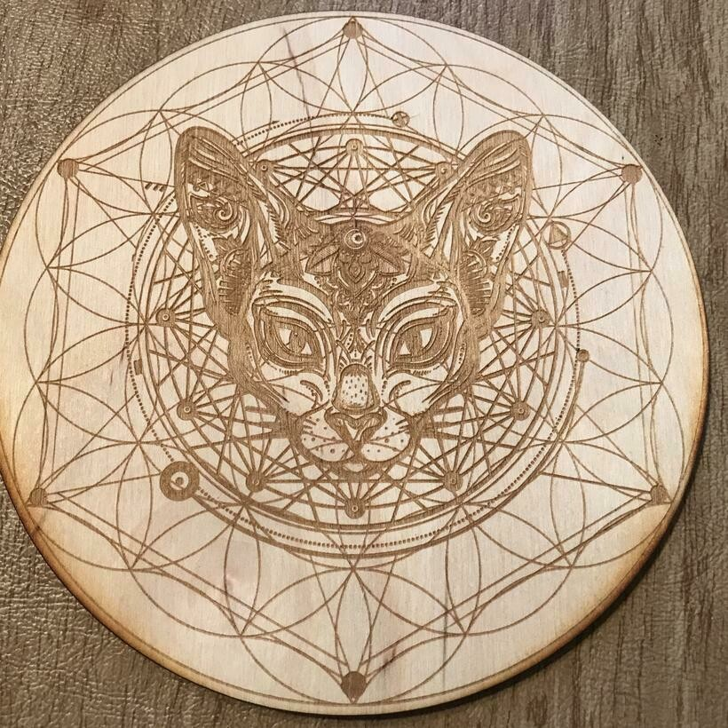 """Cat Flower of Life Intention Board 12"""""""