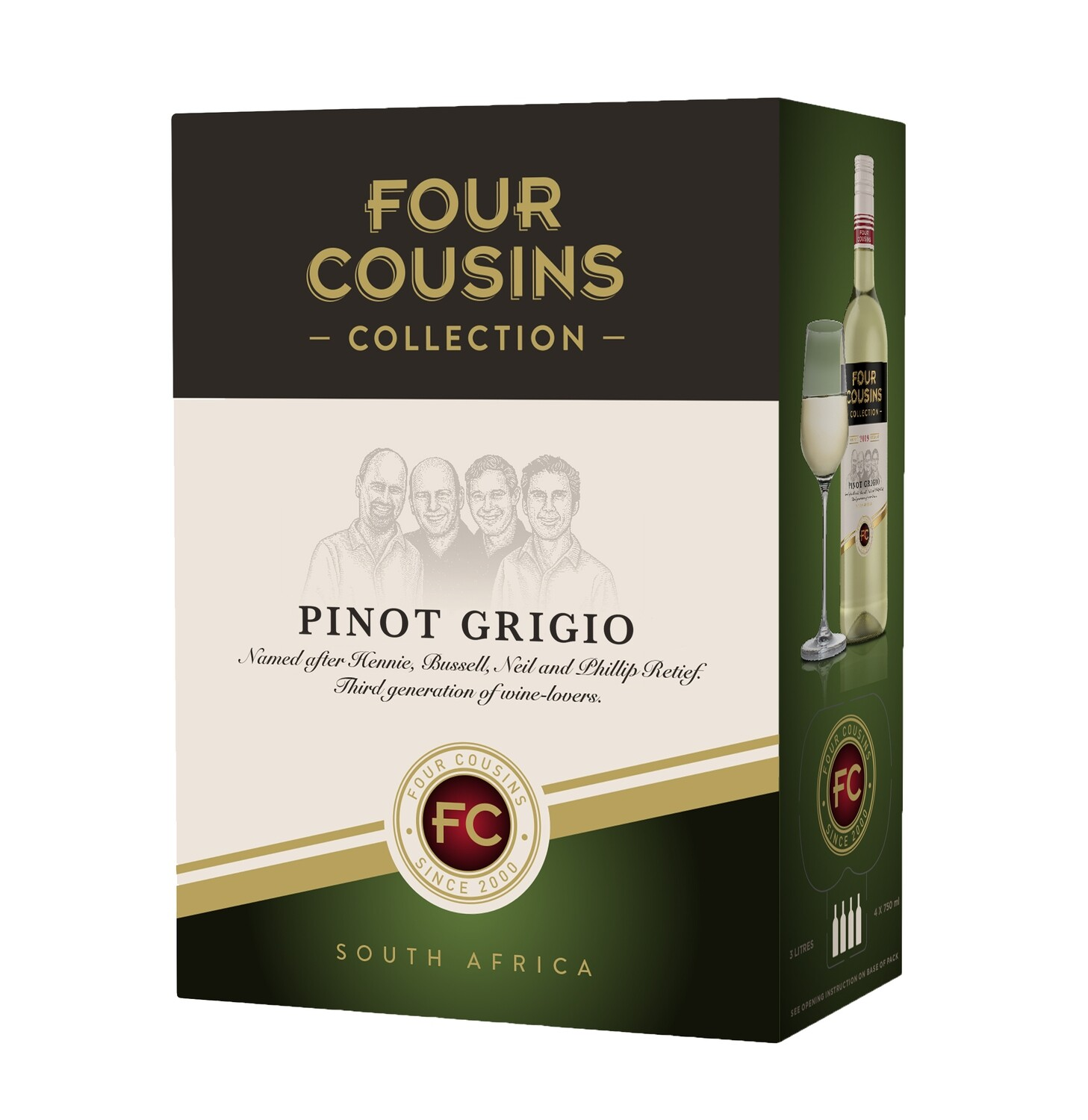 FOUR COUSINS COLLECTION PINOT GRIGIO - 4 x 3L