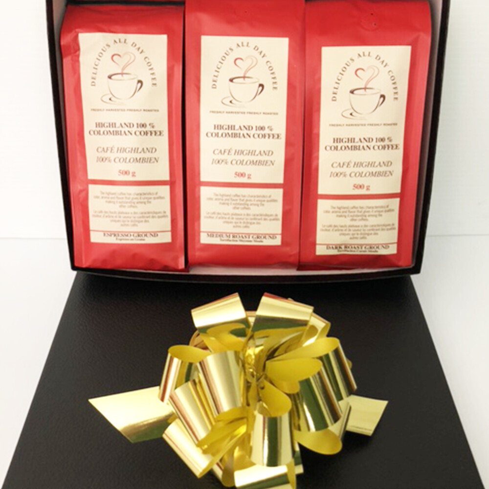 Gift Box with three packages of Medium, Dark and Espresso Roasted