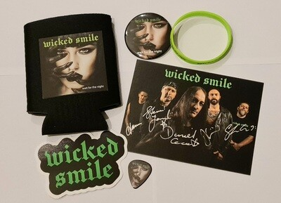 Signed photo, stubby holder, badge, wristband, sticker & guitar pick