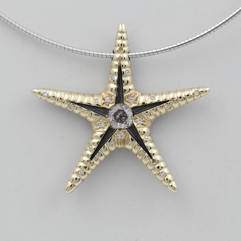 Gold and diamond starfish pendant