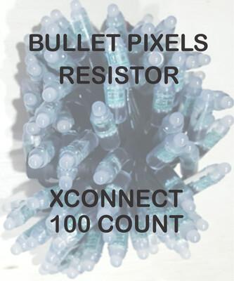 12V / WS2811 / Resistor / Bullet Pixels /  100 count Strings / 18 Gauge  BLACK WIRE / XCONNECT Ends