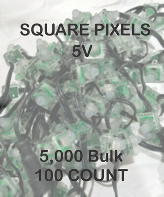 BULK 3000 OR MORE PIXELS  -  5V / WS2811 / SQUARE Pixels / 50 count Strings /   Shipped Direct by Boat  8 to 12 weeks for delivery
