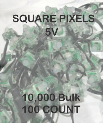 BULK 10,000 OR MORE PIXELS  - 5V / WS2811 / SQUARE Pixels / 100 count Strings / 18 Gauge WIRE / 4 Inch Spacing / - Shipped Direct by Boat - 6 - 8 Weeks for delivery