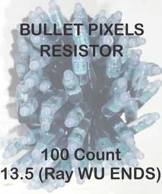 12V / WS2811 / Resistor / Bullet Pixels /  100 count Strings / 18 Gauge  BLACK WIRE /  4 Inch Spacing / 13.5 (Ray Wu Style) Ends