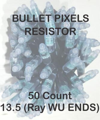 12V / WS2811 / Resistor / Bullet Pixels / 50 count Strings / 18 Gauge  BLACK WIRE /  4 Inch Spacing /  13.5 (RAY Wu Style) Ends