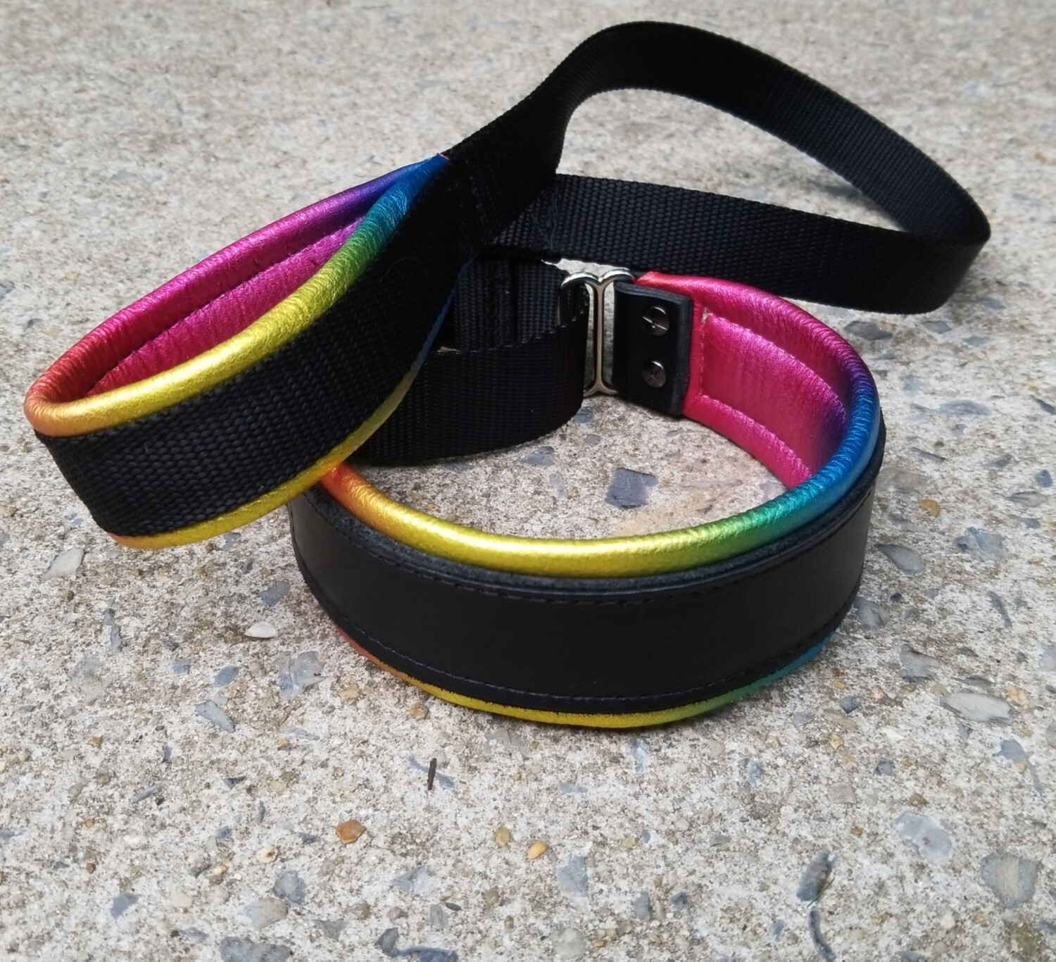 Black And Rainbow Premade Full Leather Collar and Padded Leather Leash set