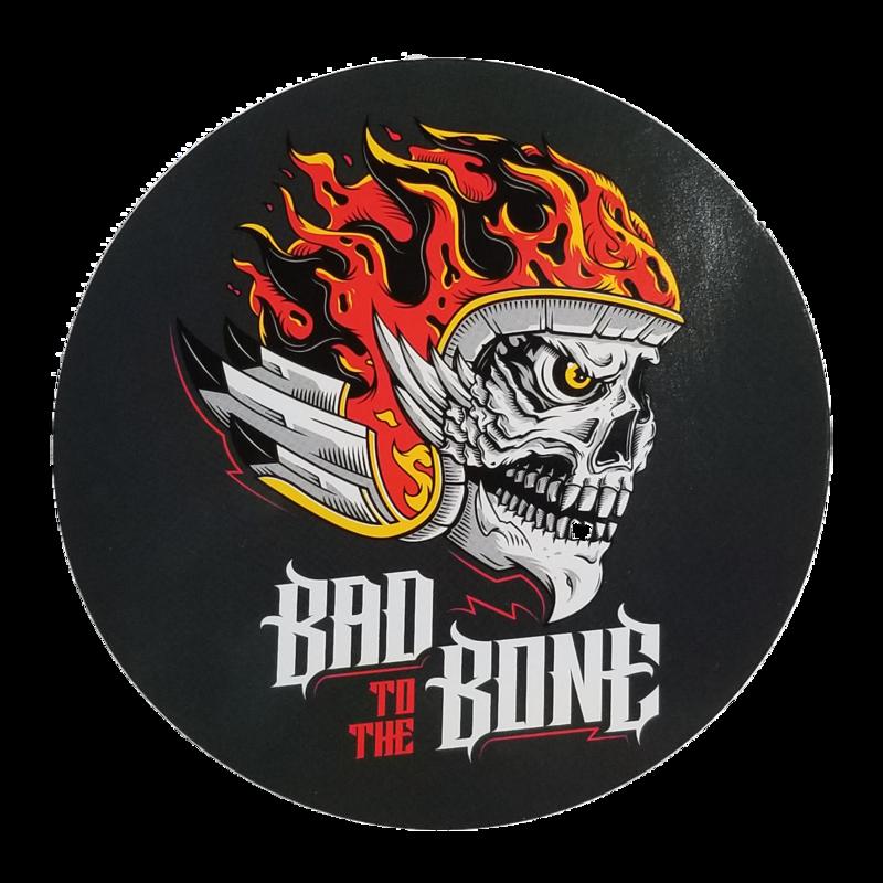 """5"""" Round Bad to the Bone Sticker"""
