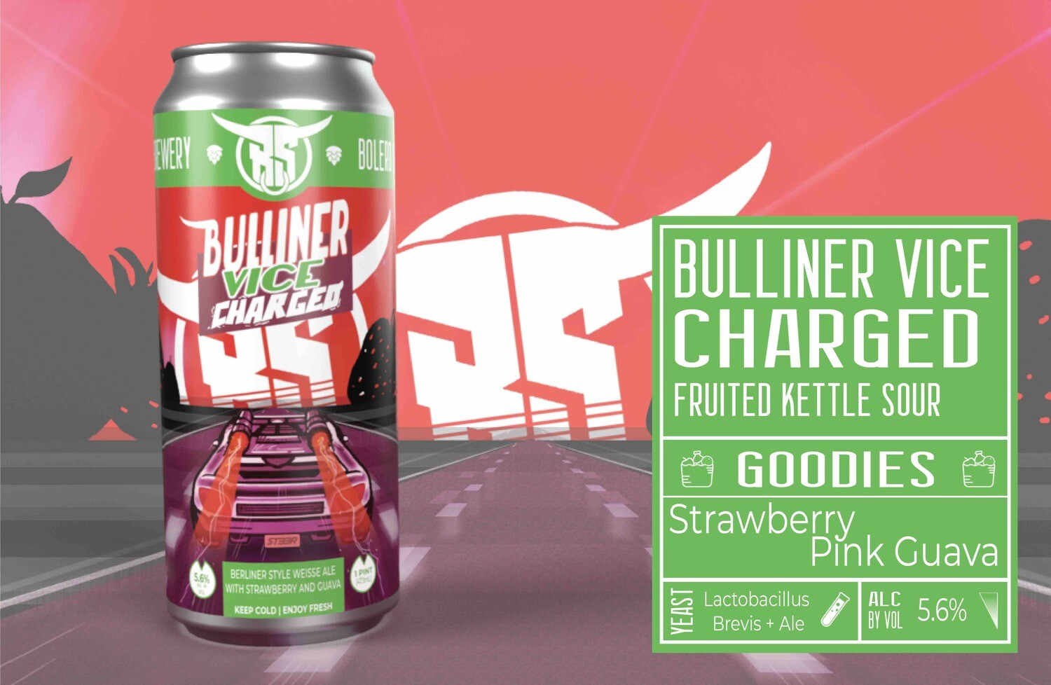 Bulliner Vice: Charged Strawberry Guava 4pk