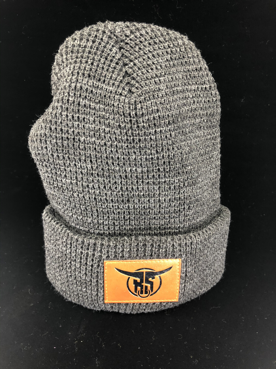 Charcoal Leather Logo Patch Waffle Beanie