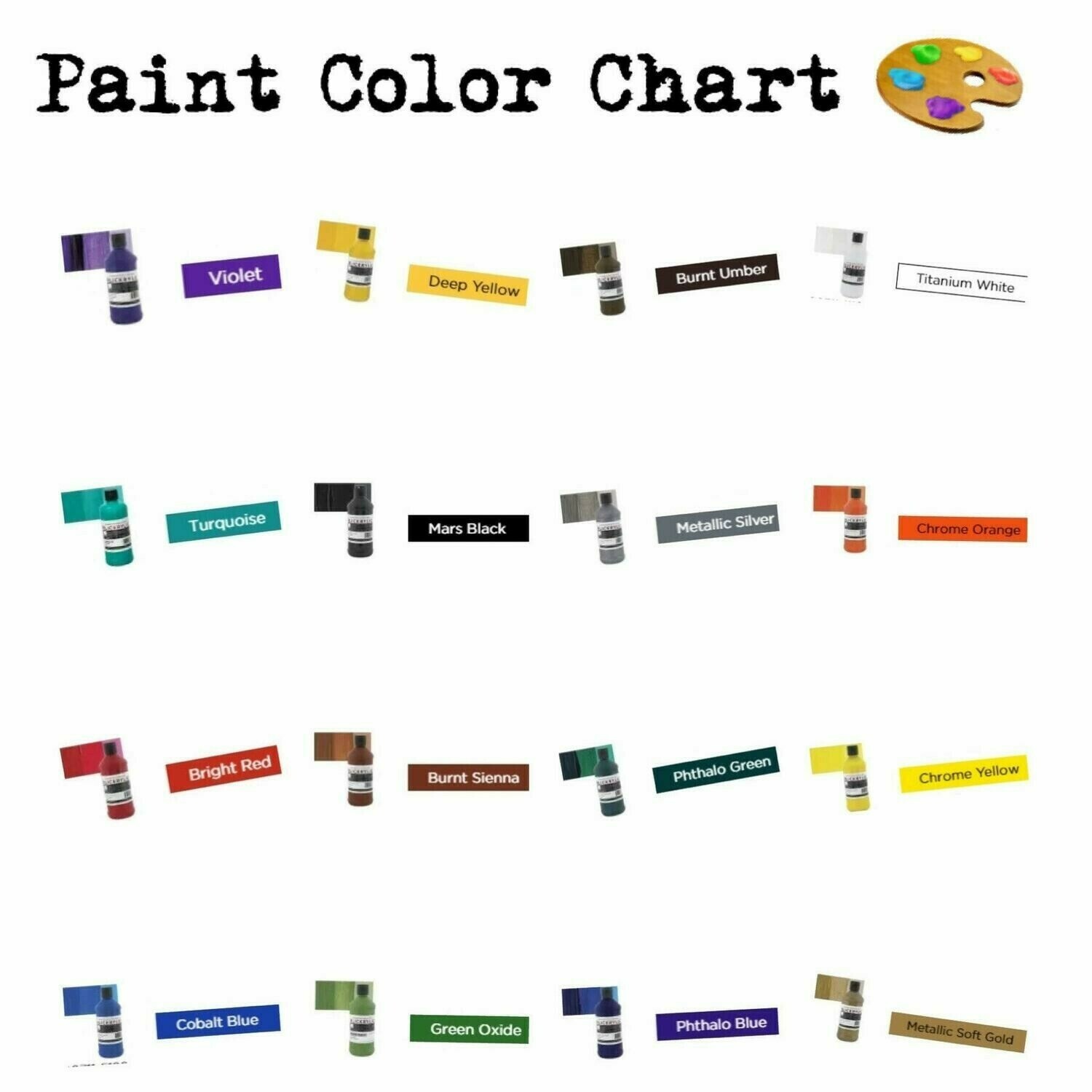 1 oz. Paints (50 cents ea)