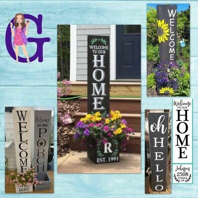 Custom Porch Sign Planter Night with NEW Interchangeable Wood Shapes Option