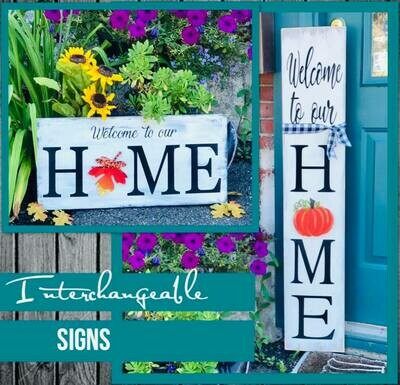 Interchangeable HOME Signs In Studio October 14