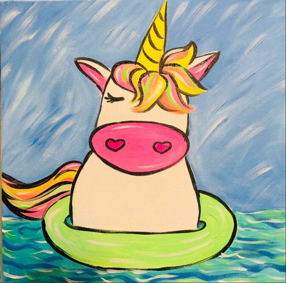 Unicorn Floatie Paint at Home Facebook Live Virtual Class TWO VIRTUAL CLASSES FOR $25
