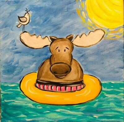 Moose Floatie Paint at Home Facebook Live Virtual Class TWO VIRTUAL CLASSES FOR $25