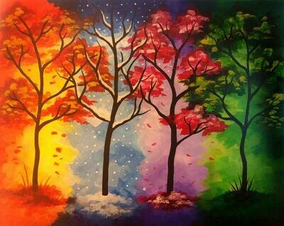 Seasons IN STUDIO Paint and Sip Class with ZOOM option