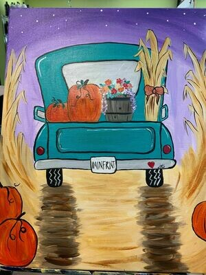 Fall Farm Truck IN STUDIO Paint and Sip Class with ZOOM option
