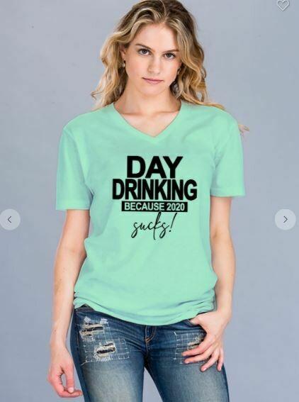 Day Drinking V Neck Tee