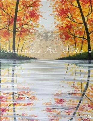 Fall Reflection IN STUDIO Paint and Sip Class with ZOOM option
