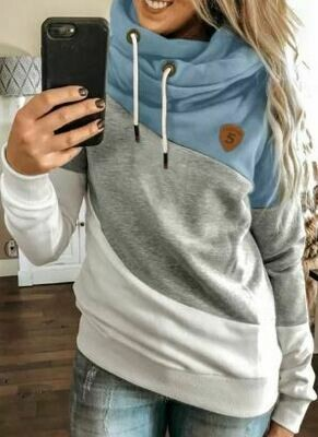 Colorblock Cowl Neck Pullover Hoodie