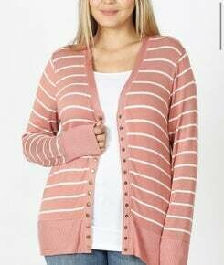 Plus Size Snap Button Cardigan