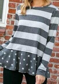 SALE Polka Dot And Stripes Grey