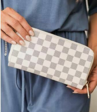 White Timeless Checkered Faux Leather Wallet