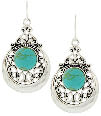 FILIGREE TURQUOISE METAL DANGLE EARRINGS