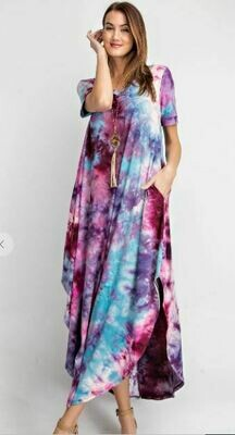Short Sleeve Tie Dye V Neck Maxi Dress