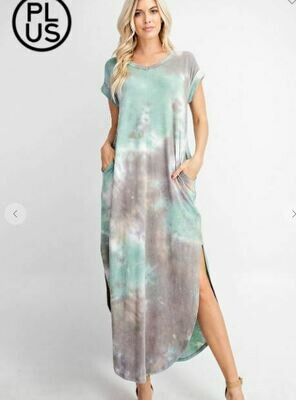 Plus Size Tie Dye Triblend V Neck Maxi Dress