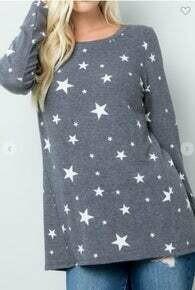 CLEARANCE Star Print Long Sleeve Top