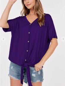 Short Sleeve Button Down Front Tie V Neck Top