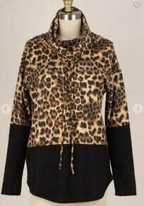 LEOPARD CONTRAST COWL NECK TUNIC TOP