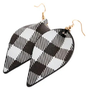 Riah Fashion Pinched Leather Drop Earrings