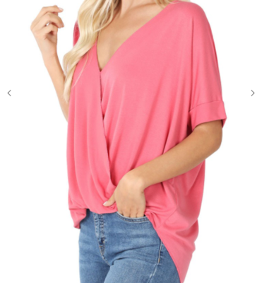 RAYON SPAN CREPE LAYERED-LOOK DRAPED FRONT TOP 5 Colors