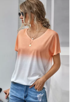 CLEARANCE Ombre Color Block Casual V Neck Tee 2 Colors
