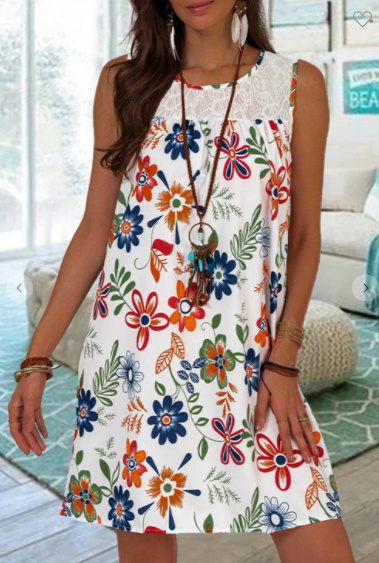 Floral and Lace Sun Dress