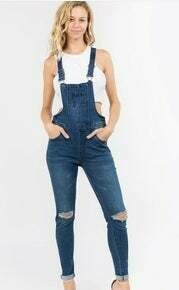 Junior PLUS SIZE DISTRESSED DENIM SKINNY OVERALLS On Sale