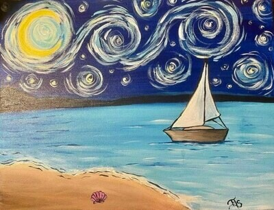 Starry Night Over Frenchman's Bay Paint and Sip With Zoom Option