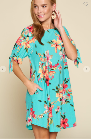 Floral Printed Swing Dress With Tied Sleeves