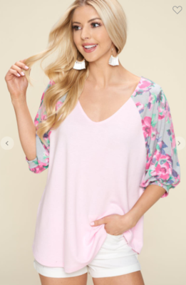 Floral Puff Sleeves V Neck Top
