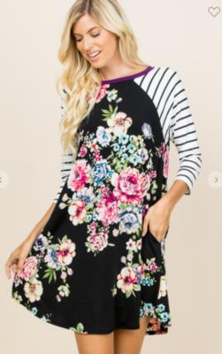 Floral Striped Black Swing Dress