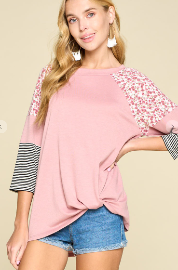 Floral and Stripes Side Twist Top