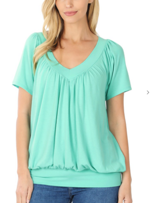 Blousy V Neck Tee  7 Colors
