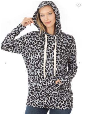 Grey Leopard Hoodie