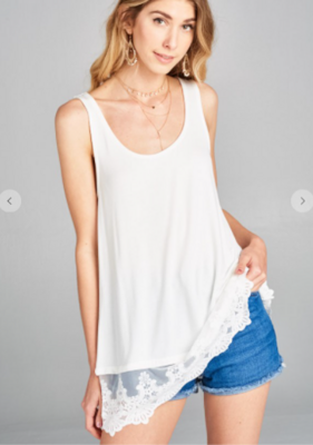 Solid Jersey Sleeveless Lace Extender Tunic Tank Top 3 Colors